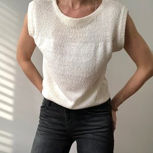 VINTAGE/ ribbed textured knit boxy top